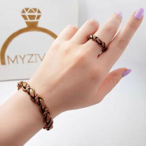 ست دستبند و انگشتر جنس مسی کد ۳۰۰6
