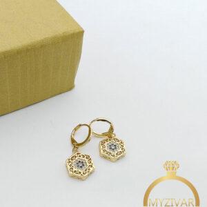 گوشواره شش ضلعی نگیندار طرح طلا کد ۸۰۶4