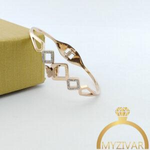 دستبند النگویی پروانه طرح طلا و رنگ ثابت کد ۱۳۰۳8