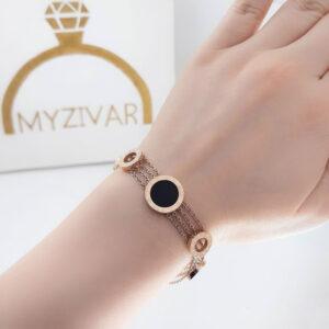 دستبند دخترانه رنگ ثابت مدل بولگاری کد 13056